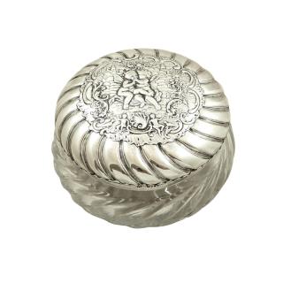 Antique Victorian Sterling Silver & Glass 'Cherub' Vanity Jar / Pot 1896