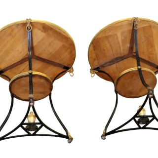 Pair Of Early 20th Century French Gilt Bronze & Marble Gueridon Tables
