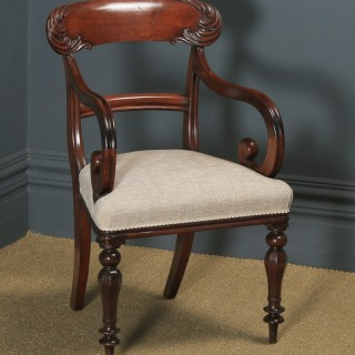 Antique English William IV Mahogany Bar Back Library Desk Dining Armchair Carver (Circa 1840)