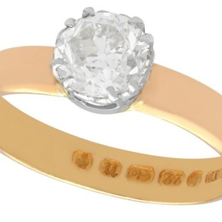 1.34ct Diamond and 22ct Rose Gold Solitaire Ring - Antique 1887