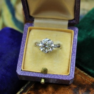 A 3.66 Carat Diamond Solitaire Ring mounted in Platinum, Circa 1950