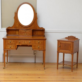 Edwardian Satinwood Dressing Table With Bedside Cabinet