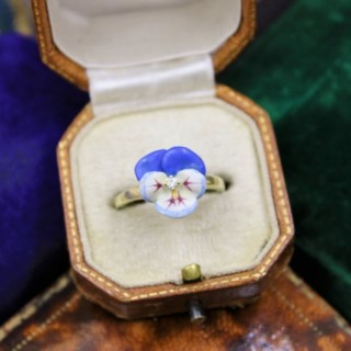 A very fine Ceramic and Diamond Pansy Ring set in High Carat Yellow Gold, Circa 1890
