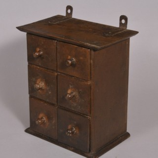 Antique Early 20th Century Bank of Six Spice Drawers