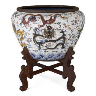 Very large Chinese enamel jardinière on hardwood stand