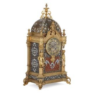 Belle Époque period gilt bronze and enamel clock set
