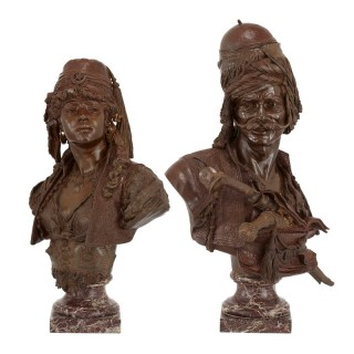 Pair of Orientalist sculpted busts by Guillemin