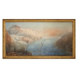 Large landscape watercolour of Mont Blanc by Arthur Croft