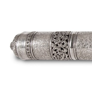 Antique silver document case from Burma
