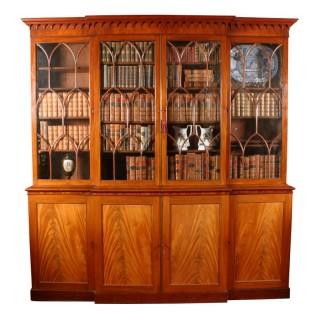 Georgian Mahogany Breakfront Bookcase
