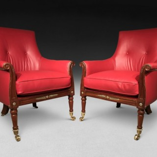 Pair of Regency Mahogany and Brass Library Armchairs