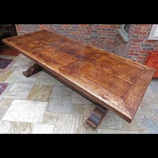 Large mid 20th.century elm refectory table