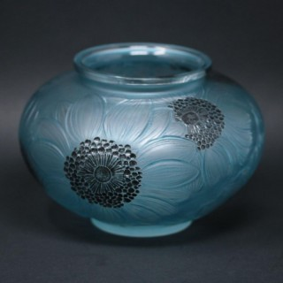Rene Lalique Clear & Frosted Glass 'Dahlia' Vase