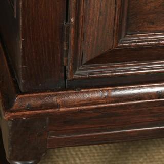 Antique English Georgian Oak Geometric Cabinet / Cupboard on Stand (Circa 1740)