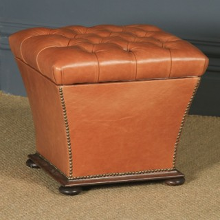 Antique English Victorian Mahogany & Tan Brown Leather Upholstered Square Ottoman Box Stool (Circa 1860)