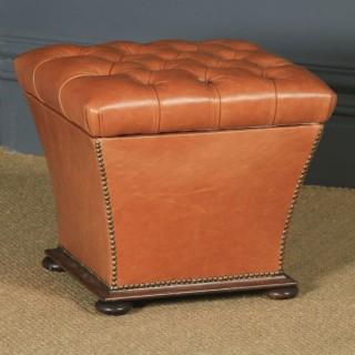 Antique English Victorian Mahogany & Tan Brown Leather Upholstered Square Ottoman Box Stool (Circa 1860)