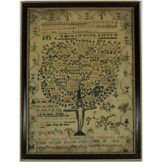 Antique Sampler, 1814, 'Tree of Life', by Mary Sandler