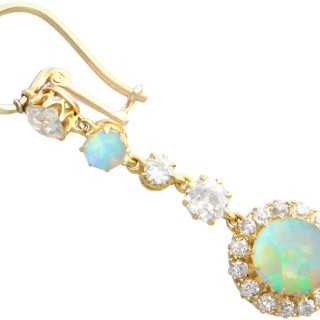 1.82 ct Opal and 1.82 ct Diamond, 18 ct Yellow Gold Drop Earrings - Antique Circa 1900