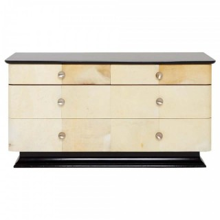 Art Deco Parchment and Ebonized Double Chest of Drawers