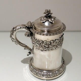 Antique George IV Sterling Silver Tankard & Cover London 1829 Barnard Family