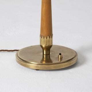 Brass and Beechwood Table Lamp by Böhlmarks