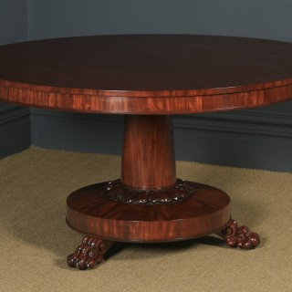 Antique English William IV Figured Mahogany Circular Round Breakfast / Dining / Loo Table (Circa 1830)