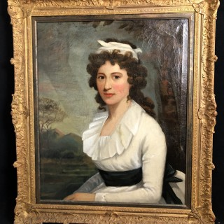 18th century oil painting of young lady