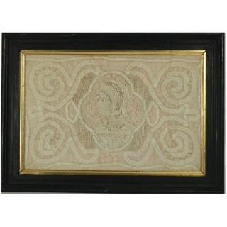 Circa 1700 Lace Embroidered Picture