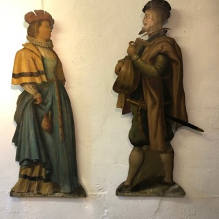 A pair late 17th / early 18th century polychrome painted pine Dummy Boards