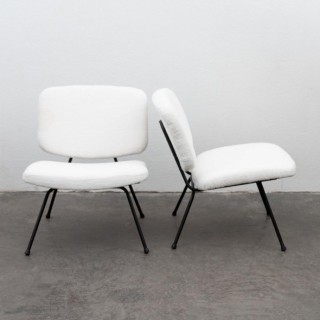 Pair Of Low Chairs By Pierre Paulin And Thonet, 1950's
