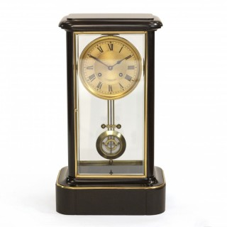 Grand Black marble Striking Mantel clock