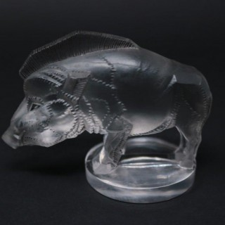 Art Deco René Lalique Clear Glass Sanglier Boar Mascot