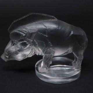 Art Deco René Lalique Clear Glass Sanglier Boar Mascot