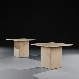Pair Of Mid 20th Century Travertine Side Tables