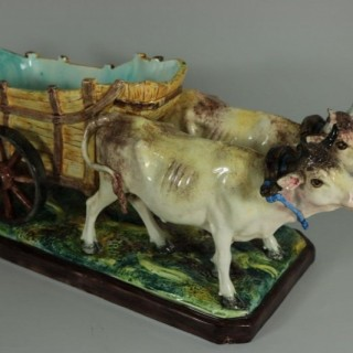 Jerome Massier Fils Majolica Ox and Cart Flower Holder
