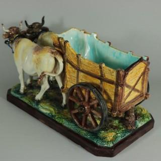 Jerome Massier Fils Majolica Ox and Cart Flower Holder