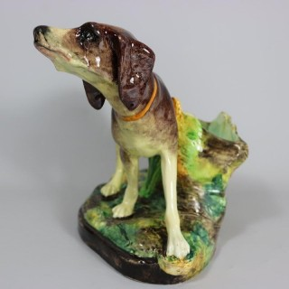 Jerome Massier Fils Majolica Dog Figural Vase