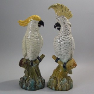 Pair of Edwardian Mintons Majolica Parrots or Cockatoos