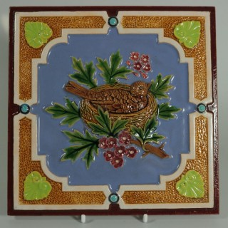 Minton Hollins & Co. Majolica Bird Tile
