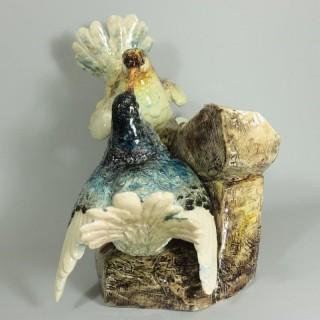 Delphin Massier Majolica Dove Vase Figural