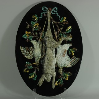 Pair of Monumental Palissy Majolica Game Wall Plaques