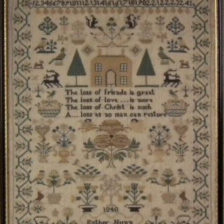 Victorian Folk Art Textile Sampler, Dated 1840 by Esther Nunn
