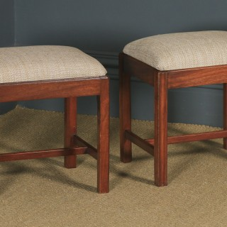Antique English Pair of Georgian Style Mahogany Upholstered Square Dressing / Foot Stools (Circa 1880)