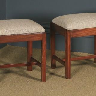 Antique English Pair of Georgian Style Mahogany Upholstered Square Dressing / Foot Stools (Circa 1880)