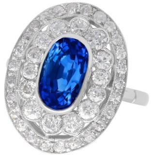 3.50 ct Ceylon Sapphire and 2.48ct Diamond, Platinum Dress Ring - Antique Circa 1935