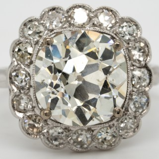 3.38 carat old mine cushion  cut  diamond  later mounted in platinum