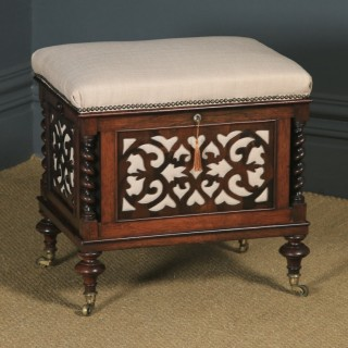 Antique English Victorian Rosewood Canterbury Box Piano / Dressing Stool / Ottoman (Circa 1860)
