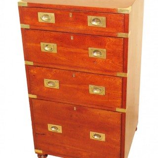 Small 19th Century Teak Military Campaign Chest