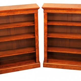 English 19th Century Pair Of Burr Walnut Open Bookcases