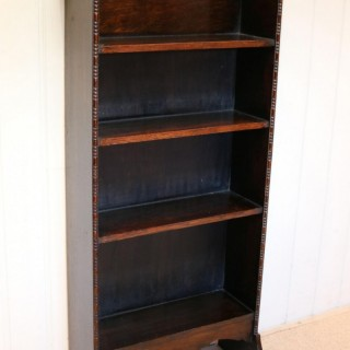 Arts And Crafts Dark Oak Open Bookcase
